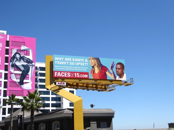 Why Kanye Taylor Swift so upset minimum wage billboard