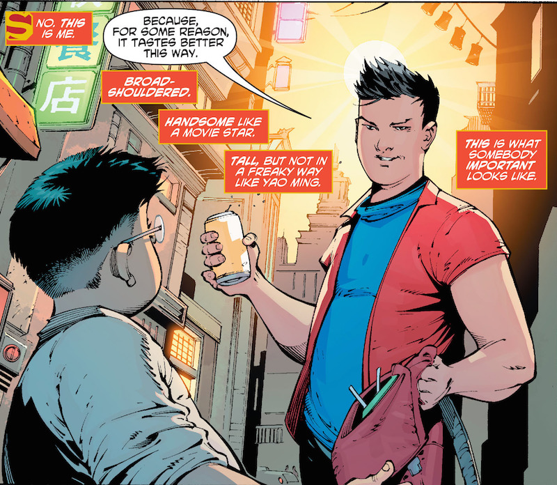 New Super-Man #1. Story: Gene Luen Yang Art: Viktor Bogdanovic Covers: Kelsey Shannon, Bernard Chang Inks: Richard Friend Colors: Hi-Fi Letters: Dave Sharpe  Superman created by Joe Shuster and Jerry Siegel.