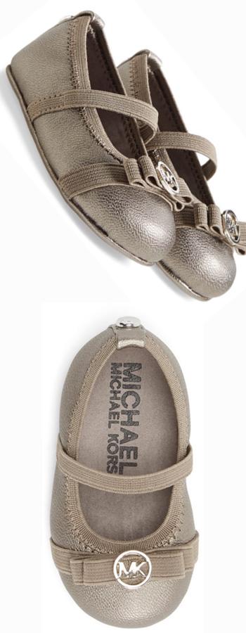 MICHAEL Michael Kors 'Mara Lux' Crib Shoe (Baby) Pewter