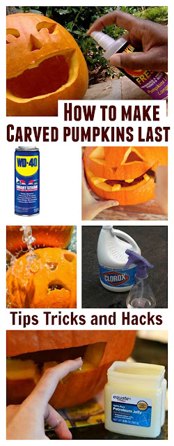 Tips & tricks to make carved pumpkins last for weeks!  No more rot!