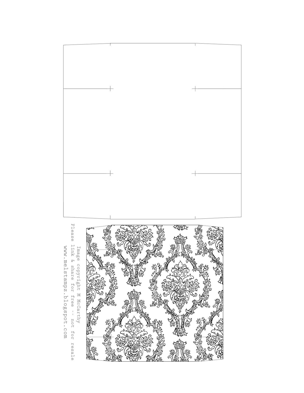 Mel Stampz Damask Basket With Matching Box Amp Patterned Paper