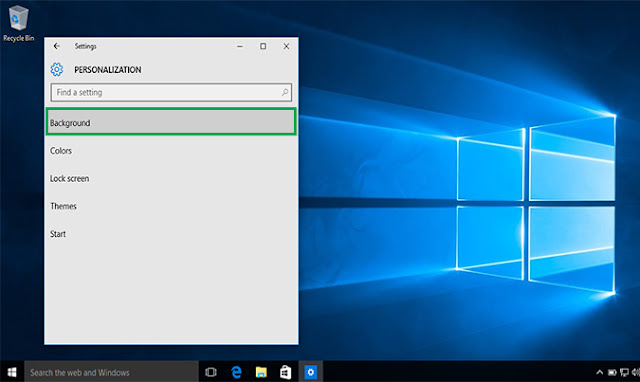 tampilan personalization Windows 10