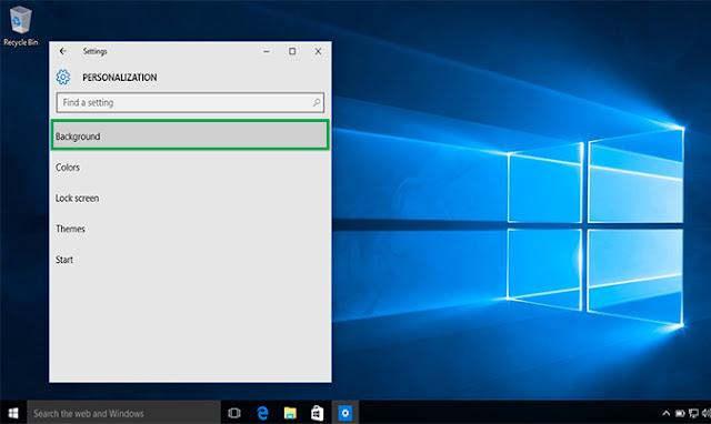 tampilan personalization Windows 10