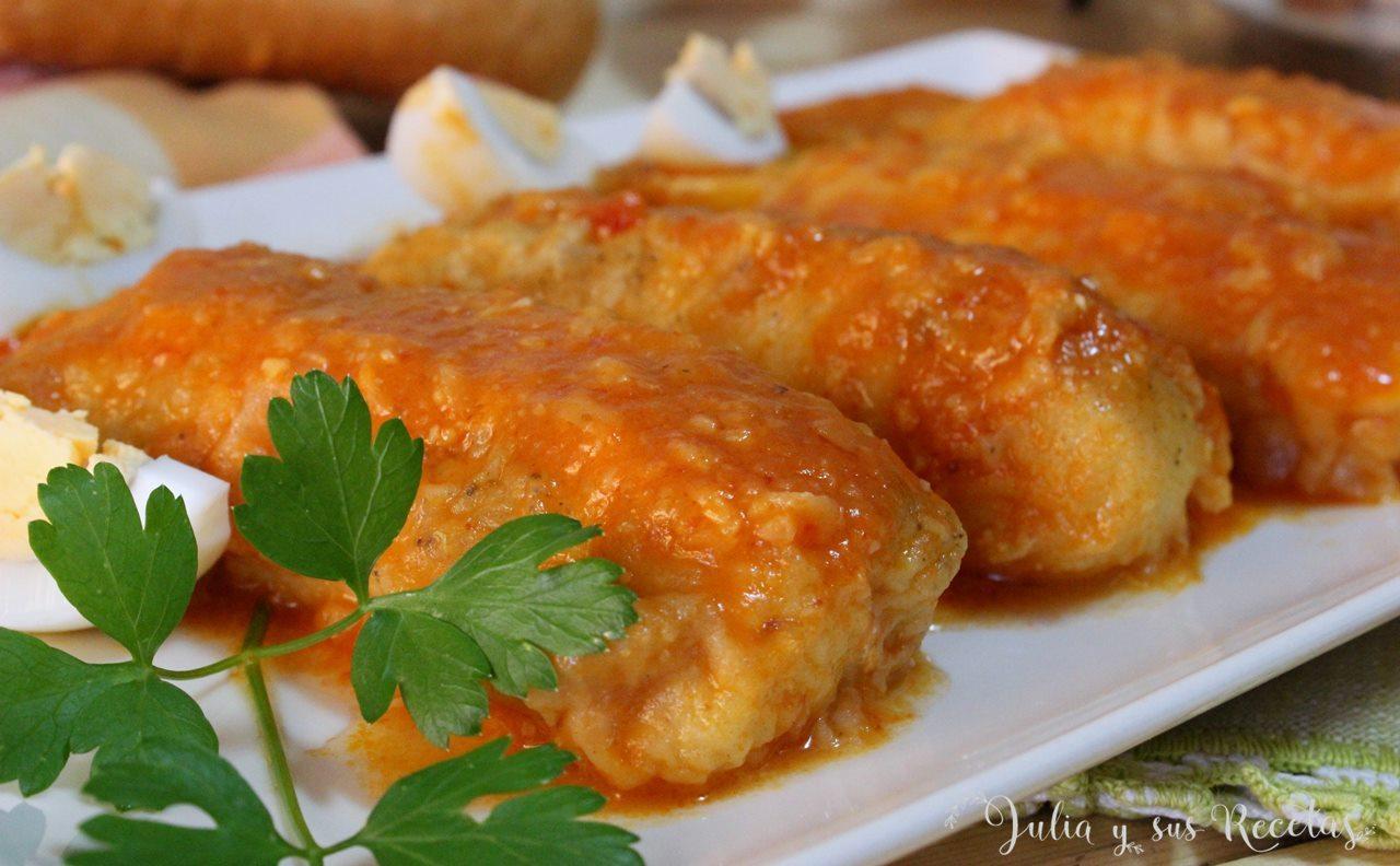 Julia y sus recetas lomos de merluza con patatas y salsa - Cocinar lomos de merluza ...