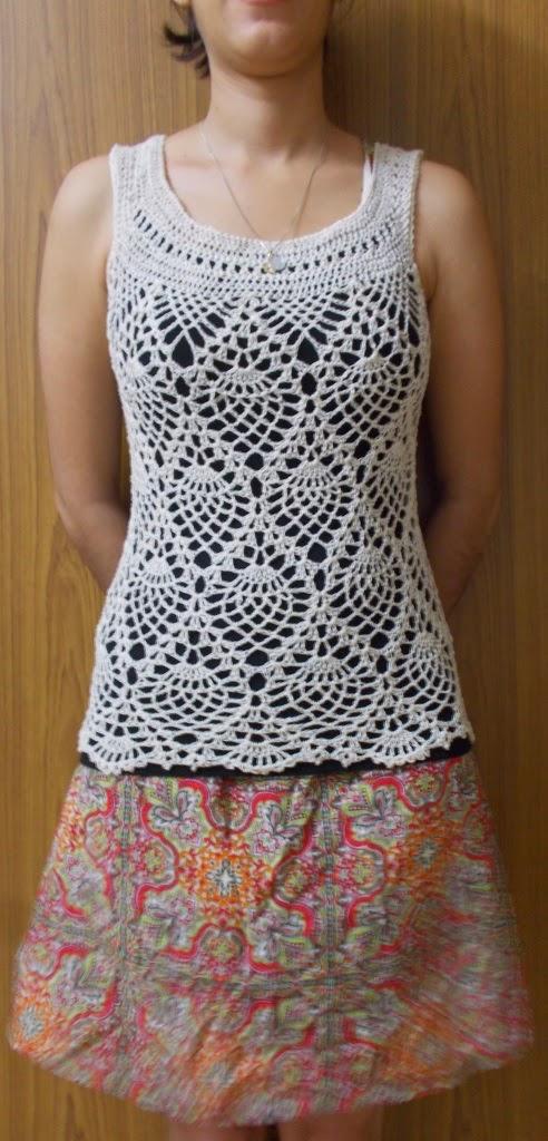 pineapple pattern, crochet top pattern, pineapple sleeveless crochet top pattern,