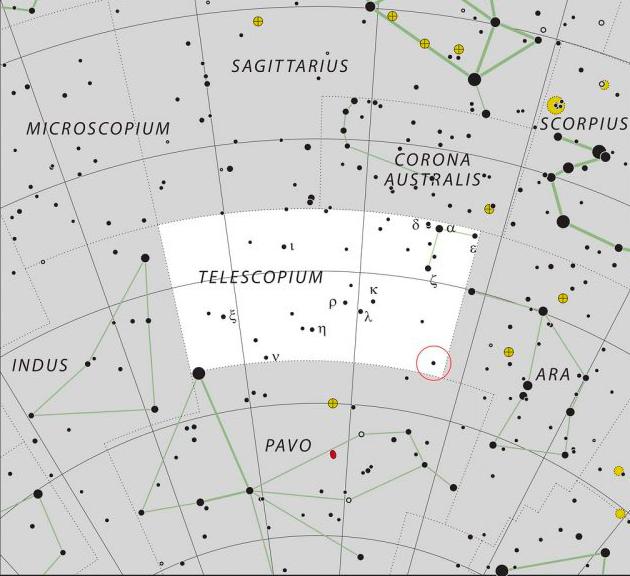 mappa e posizione del sistema stellare H£ 6819 nella costellazione australe del telescopio