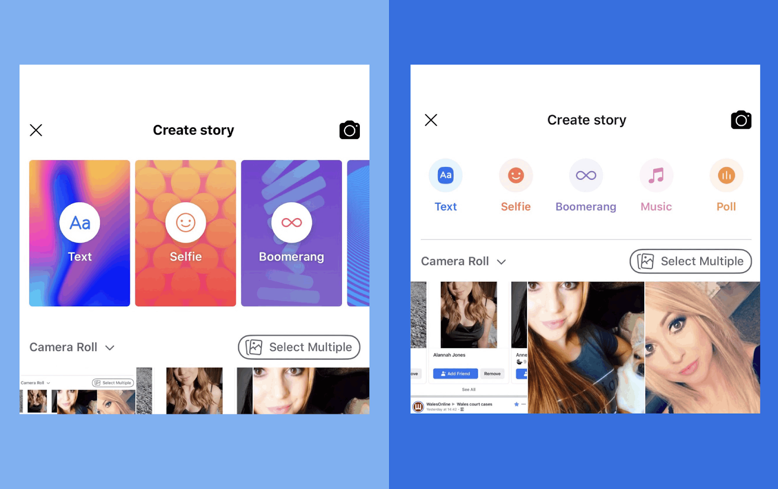 Facebook is testing a new UI for its story creation mode