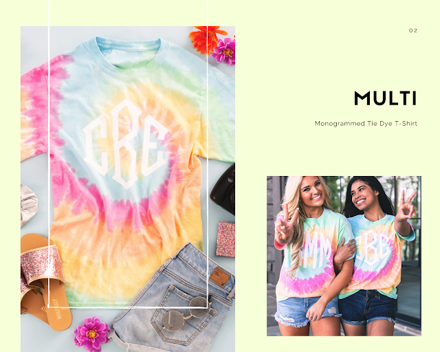multi tie dye with monogram
