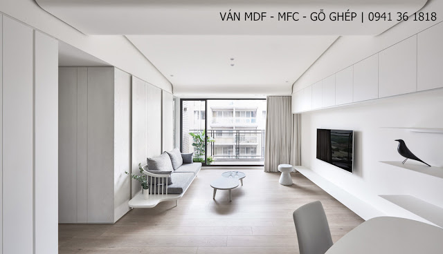 thiết kế phòng khách màu trắng đẹp