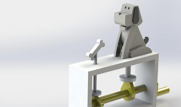 juguete automata diseñado en solidworks perspectiva