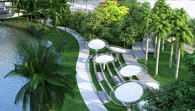 Không gian cây xanh tại chung cư A10 Nam Trung Yên