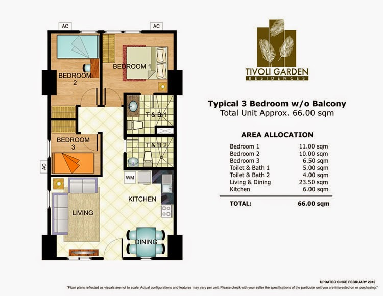 Tivoli Garden Residences 3 Bedroom Unit 66.00 sqm