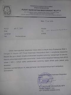 Contoh Surat Pemberitahuan Screning di Sekolah / Madrasah dari Puskesmas