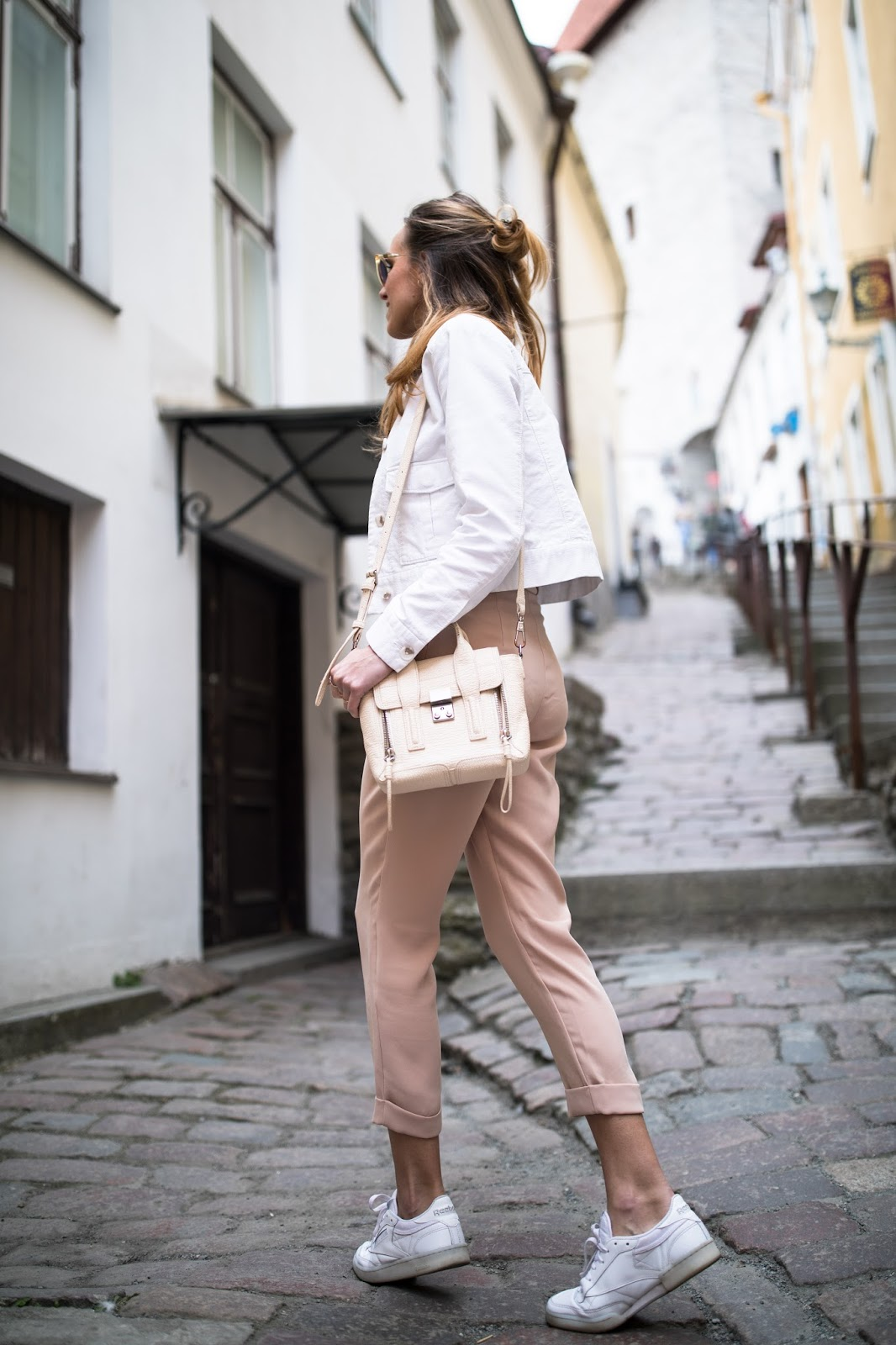 pink pants sneakers outfit