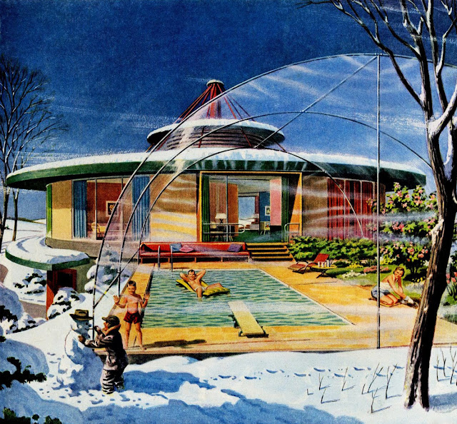vintage illustration retro futurism suburbia swimming winter