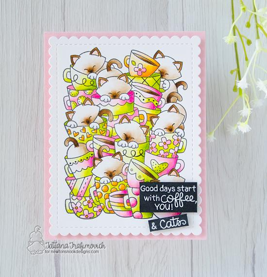 Cat and Coffee Card by Tatiana Trafivomich | Caffeinated Cats Stamp Set and Frames & Flags Die Set by Newton's Nook Designs #newtonsnook #handmade