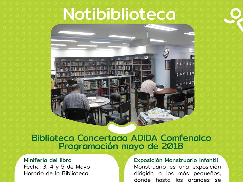 Biblioteca concertada ADIDA Comfenalco programación Mayo 2018