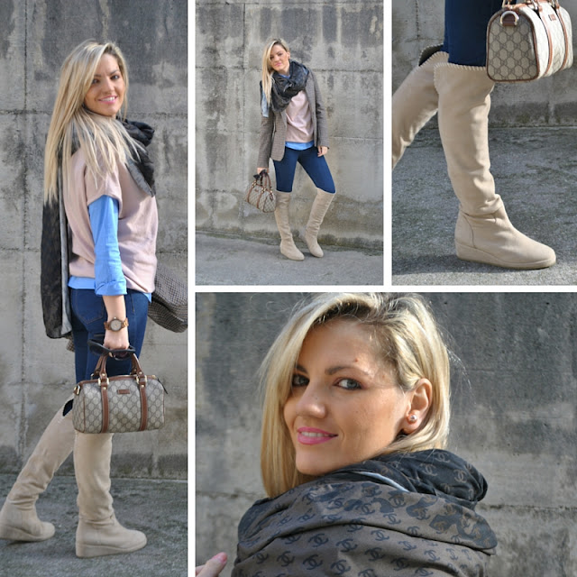 outfit stivali al ginocchio stivali michele negri outfit jeans skinny abbinamento maglione e camicia maxi sciarpa fattori maxi sciarpa logo chanel sciarpa fattori abbigliamento michele negri boots come abbinare gli stivali al ginocchio abbinamenti stivali al ginocchio how to wear over the knee boots michele negri boots blonde girls blonde hair blondie ragazze bionde bionde e stivali borsa gucci mariafelicia magno fashion blogger colorblock by felym fashion blog italiani fashion blogger italiane blogger italiane di moda outfit invernali casual outfit febbraio 2016 winter casual outfits