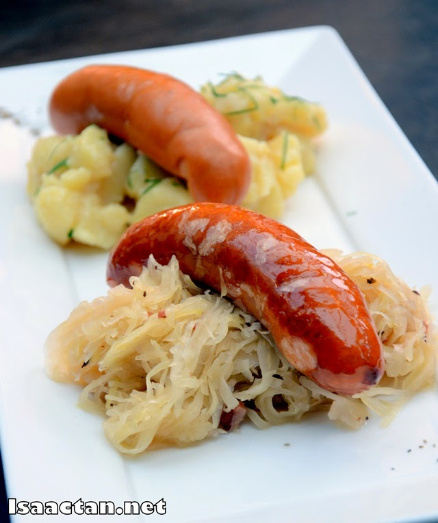 #2 Sausage Plate: Knoblauchwurst (Pork Garlic Sausages) - RM36 and Bockwurst (Smoked Pork Sausages) - RM34