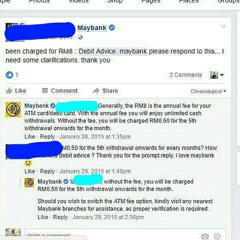 Maybank kenakan charge debit advice untuk kad debit setiap ...