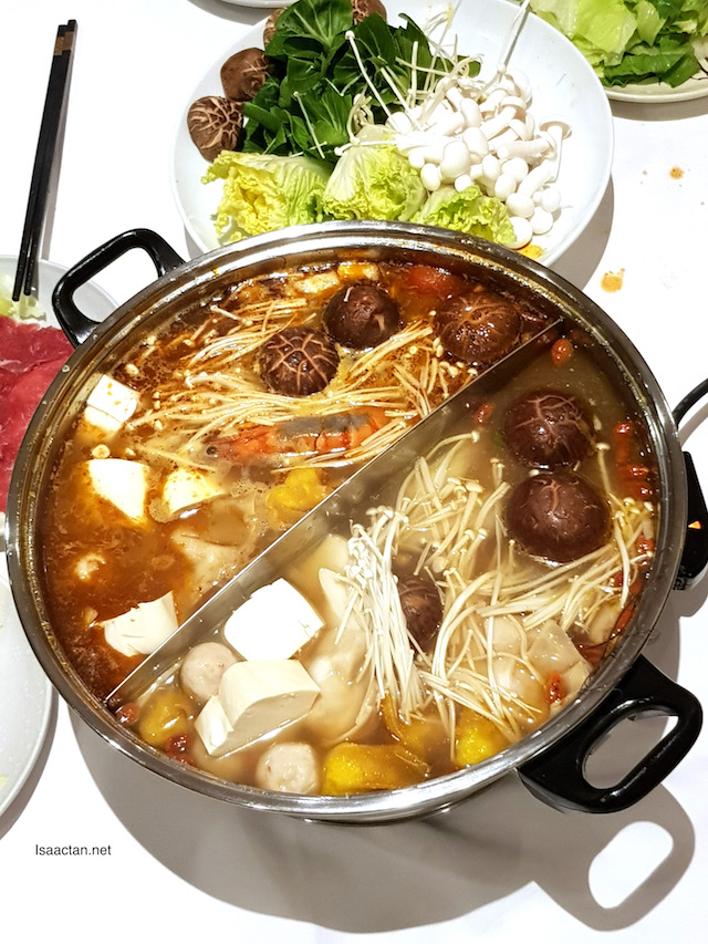 Herbal chicken, superior clear soup, vegetarian corn soup or tom yum soup? Choose, mix and match