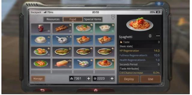 Berbagai macam resep makanan dan masakan di game life after android