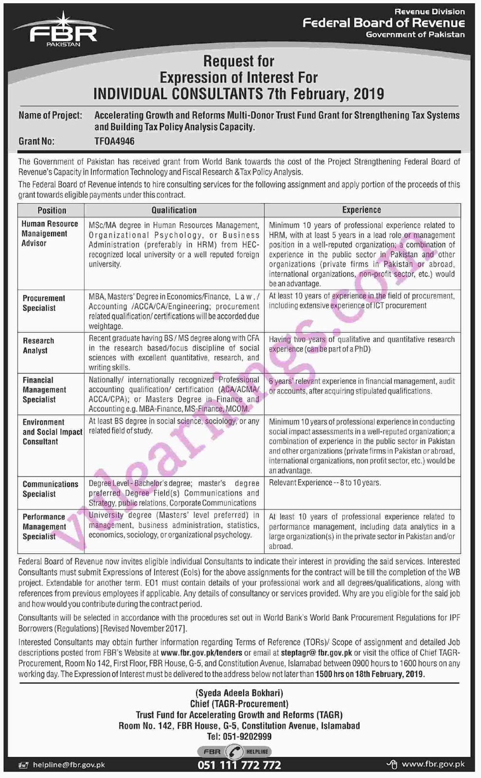 JOB IN FEDERAL BOARD OF REVENUE GOVERNMENT OF PAKISTAN