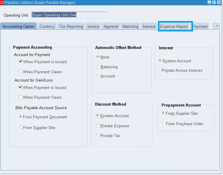 Iexpenses Setups In R  Oracle Techno  Functional