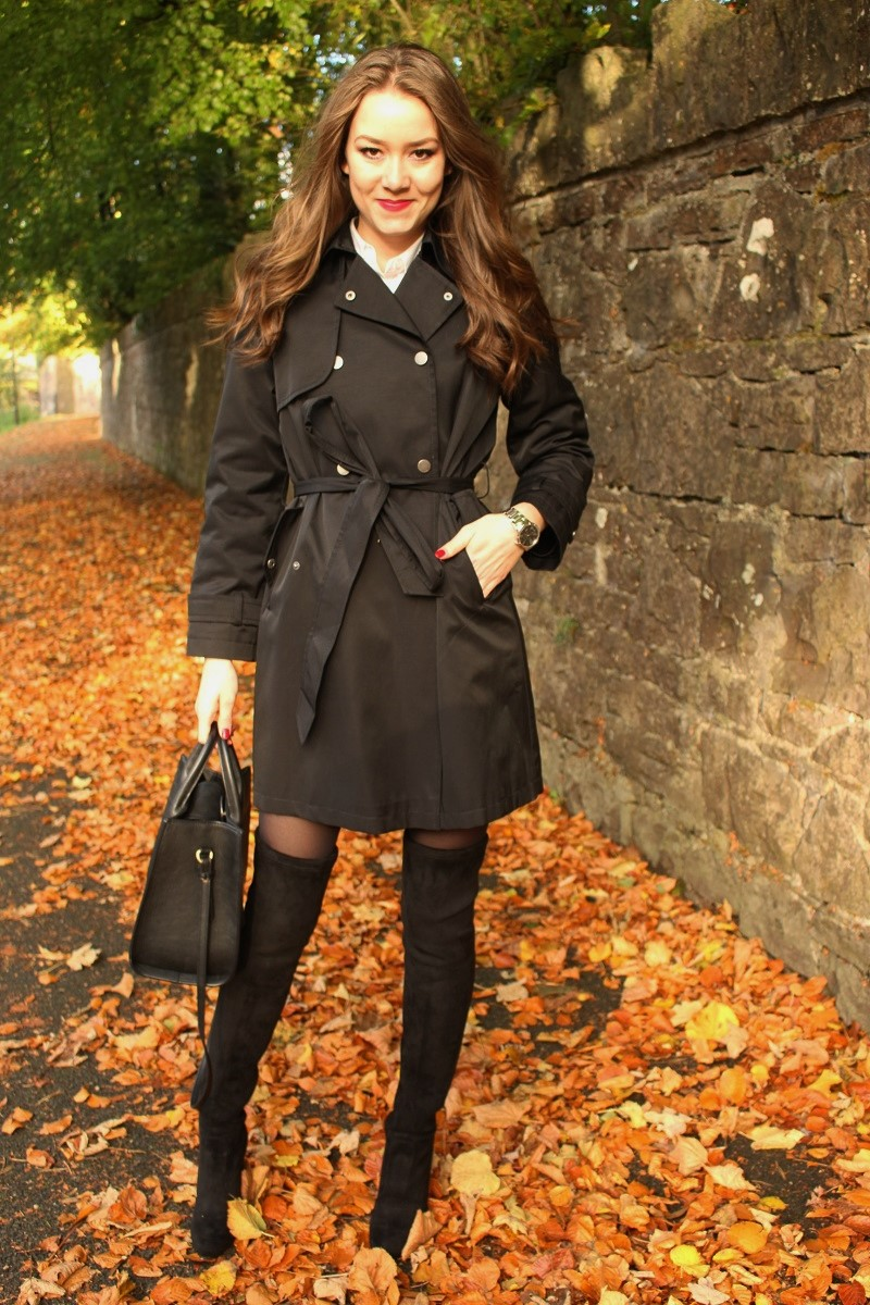 fashion, style, fashionista, boots, suede over-knee boots, trench coat