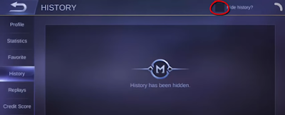 cara menyembunyikan history mobile legend