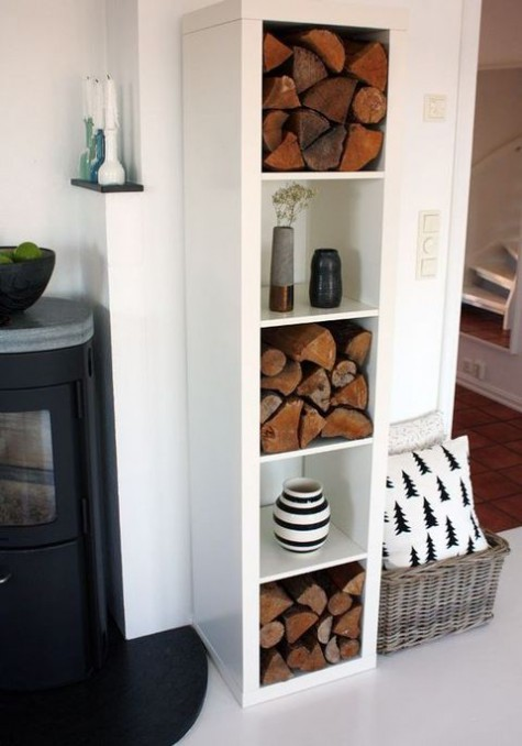 Ikea hack for Kallax shelving for firewood storage - found on Hello Lovely Studio