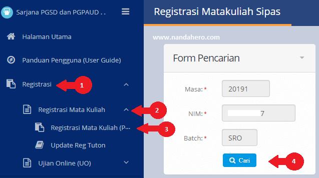 cara registrasi mata kuliah universitas terbuka