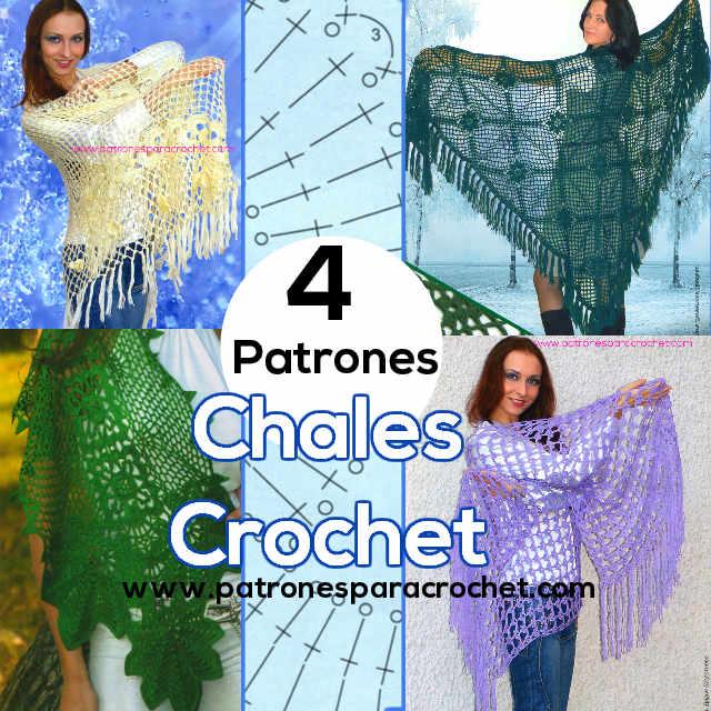 4 Patrones de Chales para tejer al crochet / Revista Rusa | Patrones ...