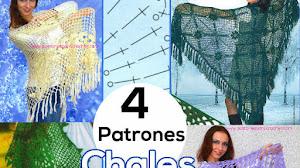 4 Patrones de Chales para tejer al crochet / Revista Rusa