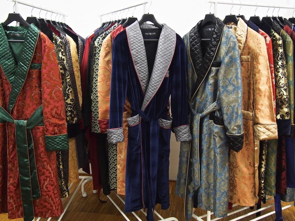 Men's Quilted Silk Dressing Gown, Velvet Smoking Jacket