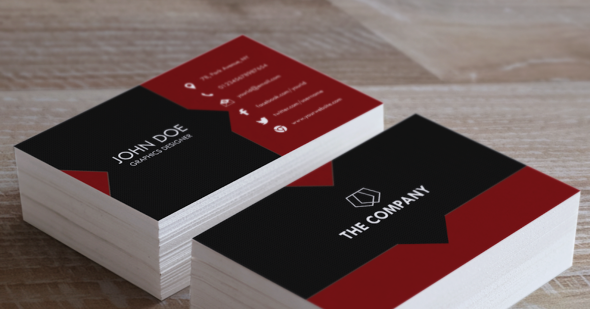 Red Black Free Business Card Template PSD - Designsmag.org