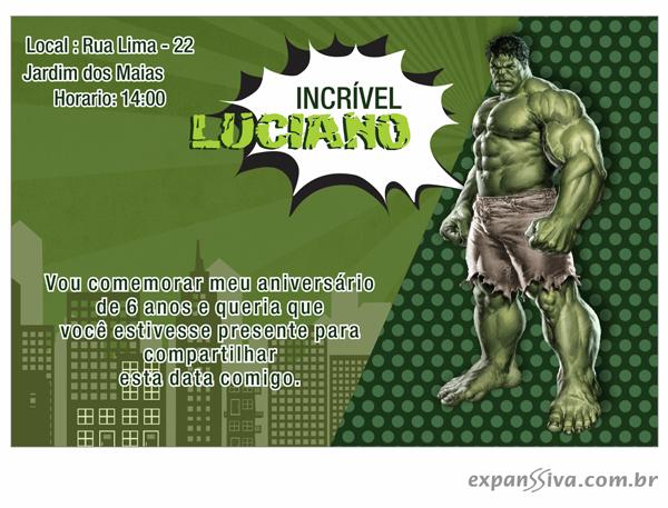 convite hulk 3d