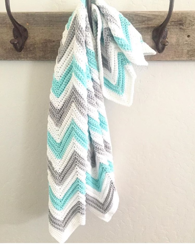 Daisy Farm Crafts Single Crochet Chevron Blanket In Mint Gray And