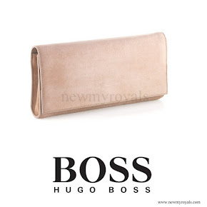 Crown Princess Mary carried Hugo Boss suede clutch bag