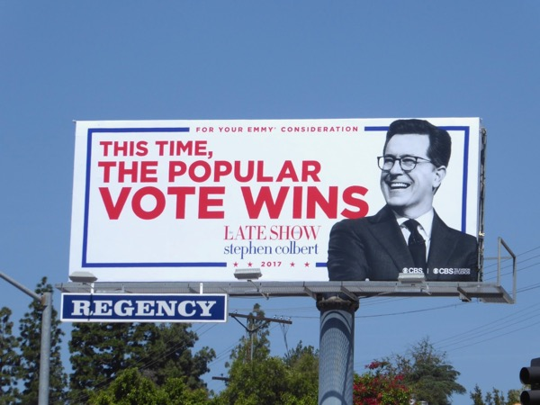 popular vote wins Late Show Stephen Colbert Emmy billboard