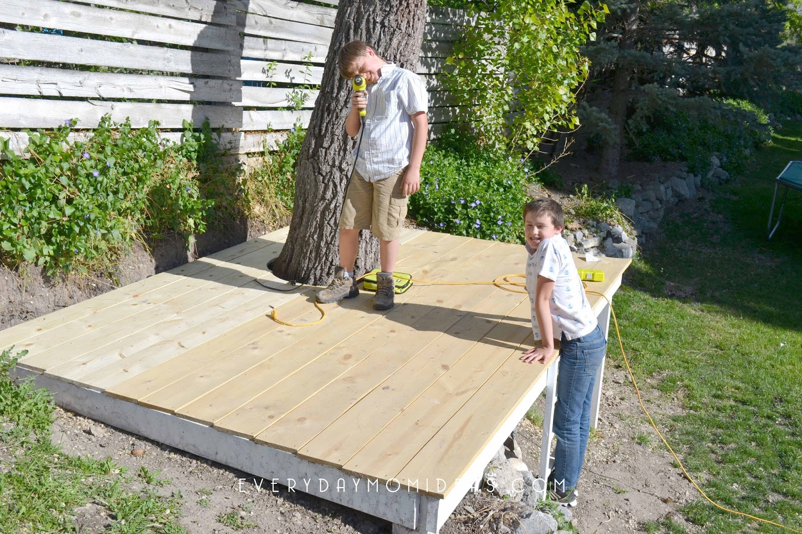 hillside hideaway treehouse part one the deck everyday mom ideas