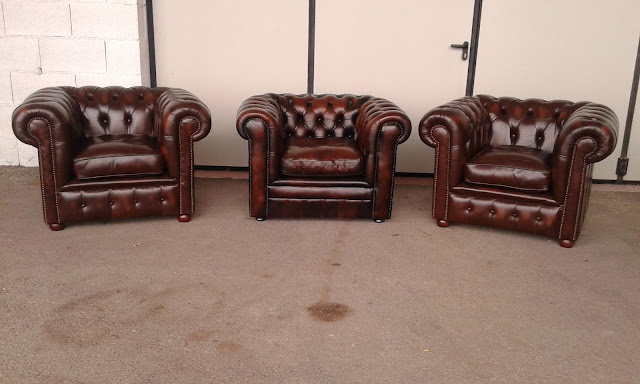 Poltrone chesterfield vintage originali in pelle for Poltrone vintage usate