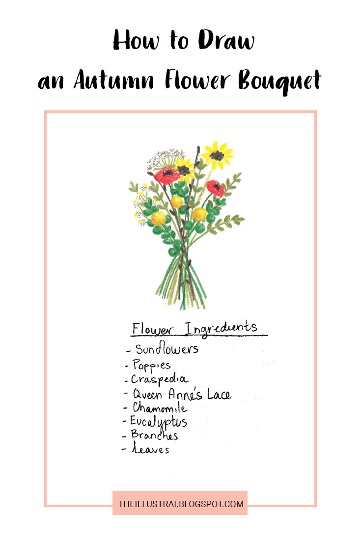 A detailed tutorial on how to draw an Autumn inspired flower bouquet that includes step by step example images for each element, as well as example images showing how to arrange the bouquet itself.
