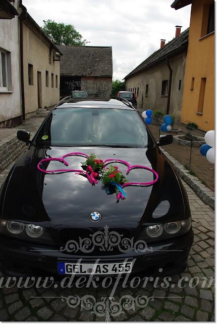 ślubna dekoracja samochodu - auto do slubu opolskie