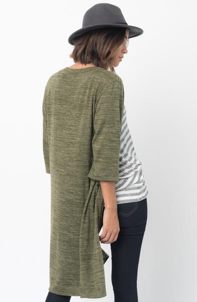 Shop for 3/4 Sleeves Olive Front Pockets Maxi Cardigan Online - $30 - on caralase.com