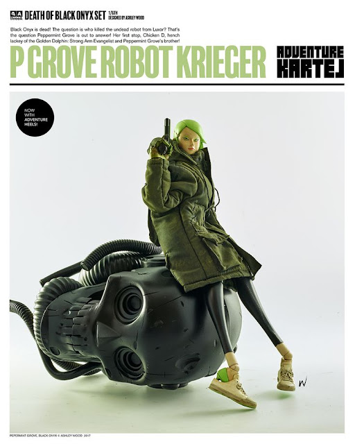 1/6th Scale action figure poses with severed mecha head