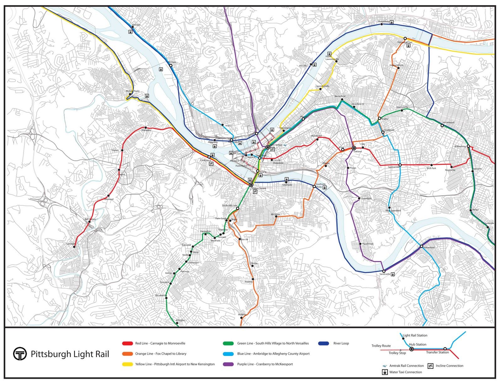 Pittsburgh T Subway Map.Thesis Pittsburgh Public Transportation