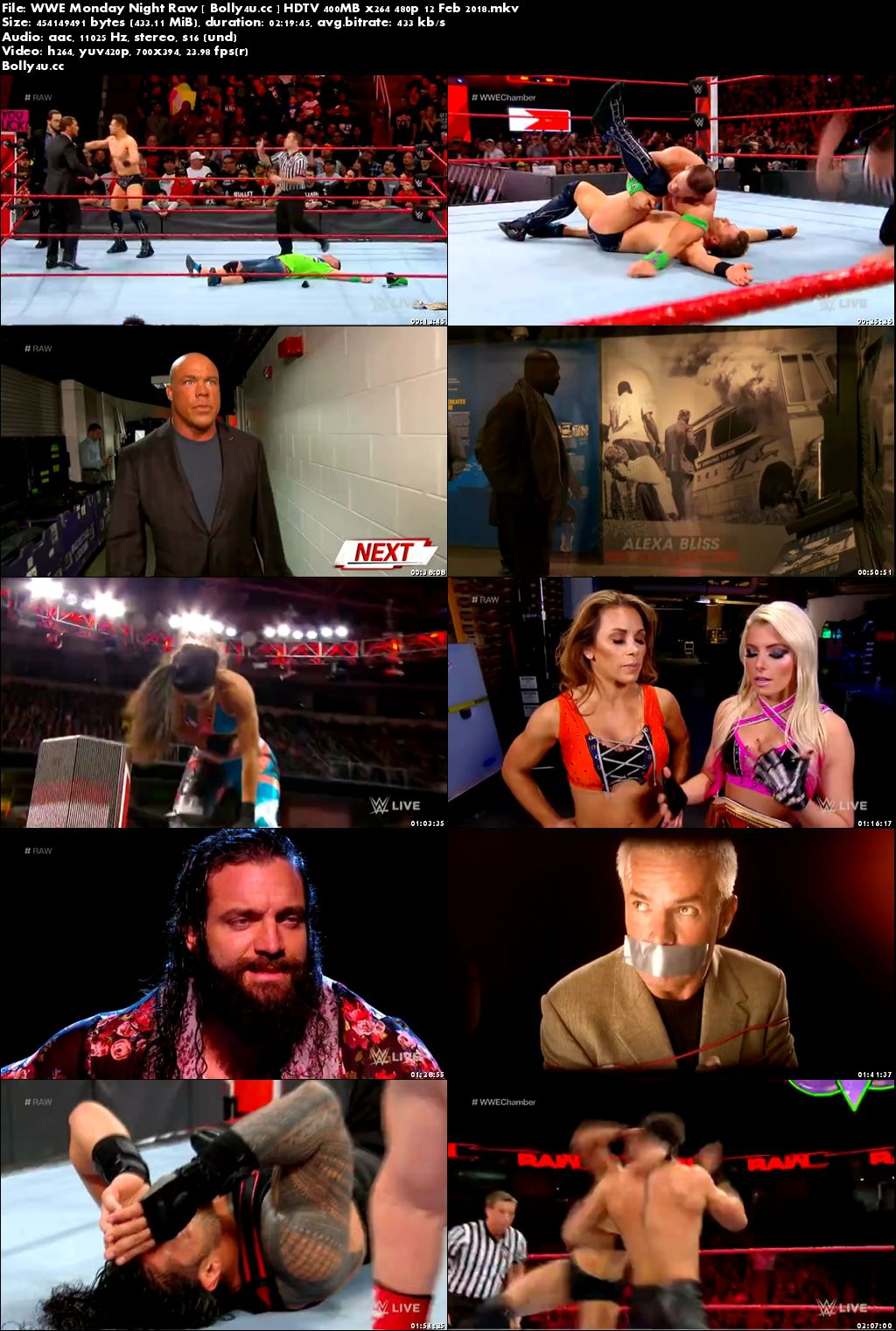 WWE Monday Night Raw HDTV 400MB 480p 12 Feb 2018 Download