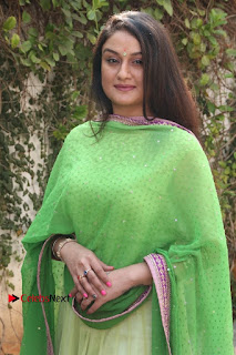 Actress Sonia Agarwal Stills in Green Anarkali Dress at Agalya Tamil Movie Launch  0003.jpg