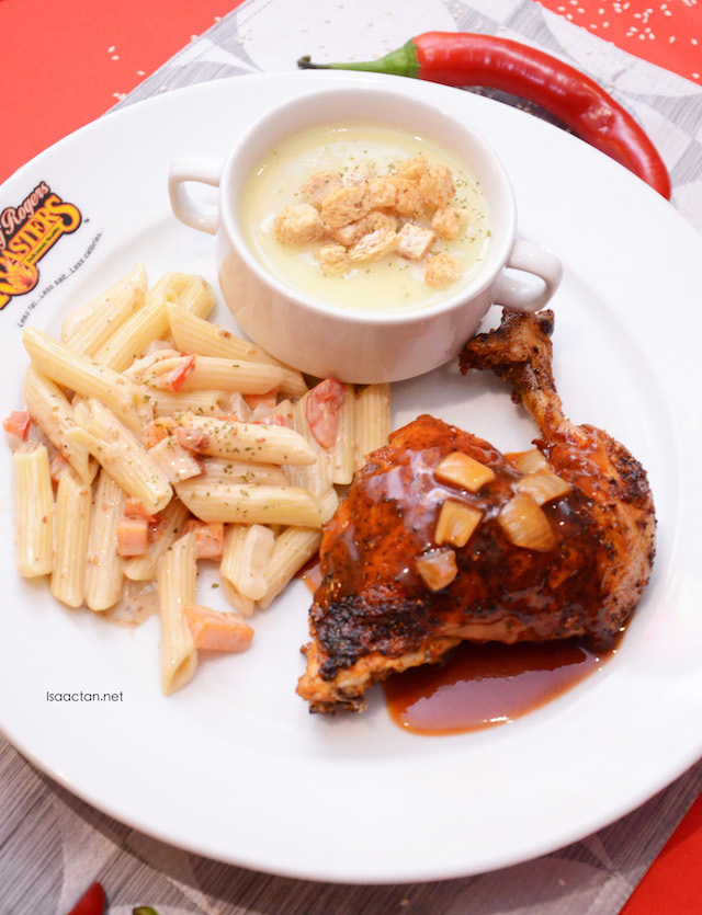 Spicy Chicken & Pasta Meal (RM23.50), with Spicy Chicken, Sesame Penne Pasta and Country-style Chicken Soup